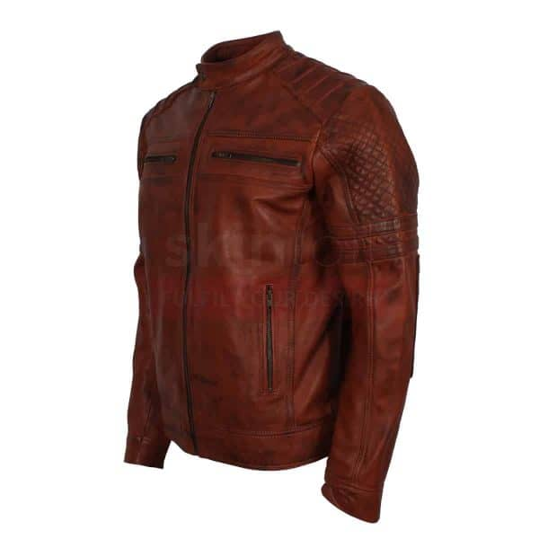 Vintage carved Brown waxed leather jacket