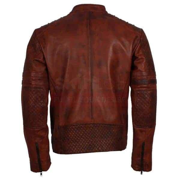 mens Vintage carved Brown leather jacket