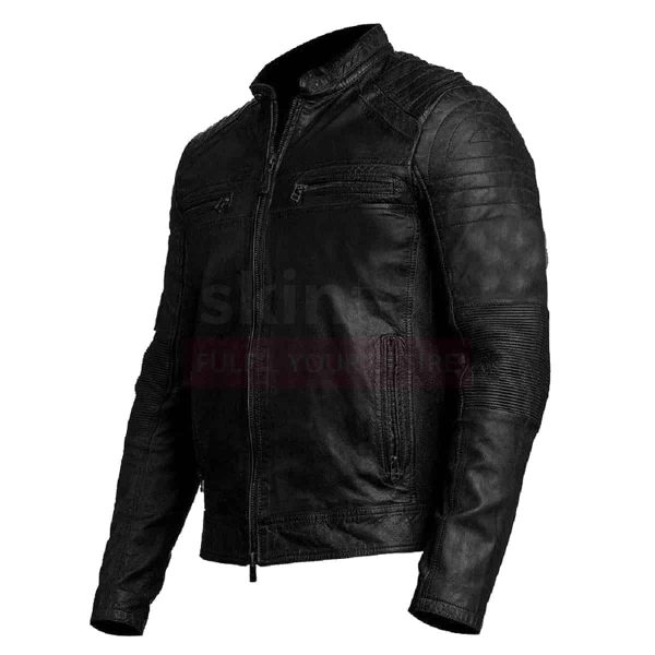 Mens Vintage Biker Moto Cafe Racer Genuine Real Leather Jacket