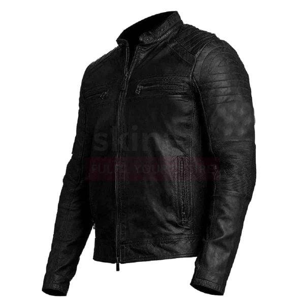 Mens Vintage Biker Moto Cafe Racer Genuine Real Leather Jacket