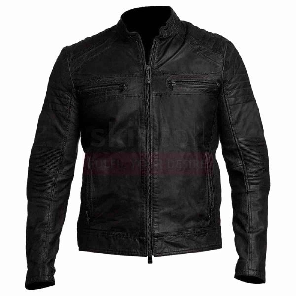 Mens Vintage Moto Biker Cafe Racer 1 Real Leather Jacket