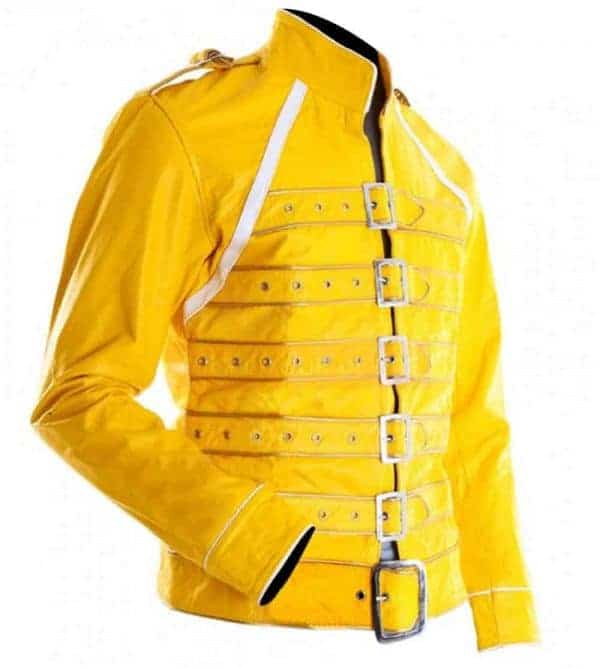Freddie Mercury Wembley Concert Military Queen Yellow Leather Biker Jacket