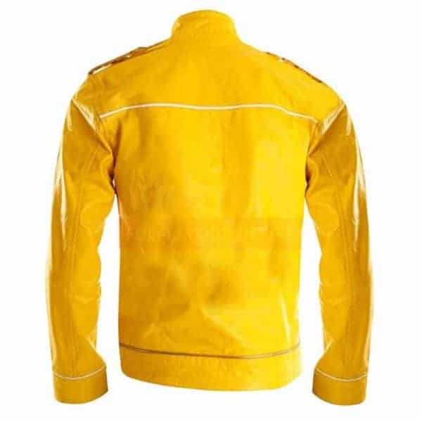 Freddie Mercury Wembley Concert Military Strap Queen Yellow Leather Biker Jacket