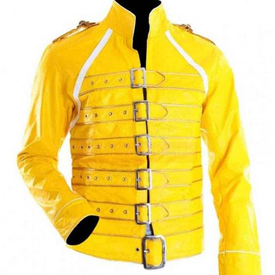 Freddie-Mercury-Wembley-Military-Strap-Queen-Yellow-Leather-Biker-Jacket-560×560