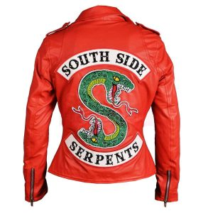 Womens Riverdale Leather Jacket Red